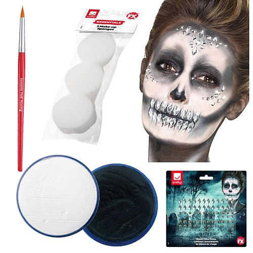 Glam Skeleton Make-up Kit With Jewels