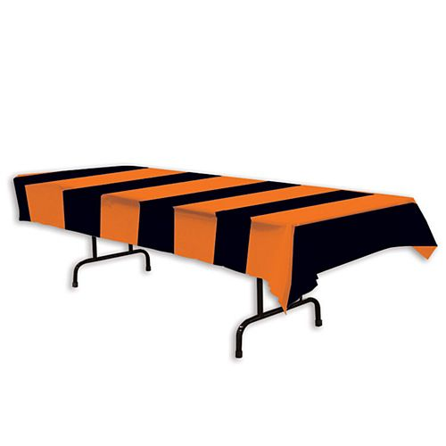 Orange and Black Stripes Plastic Tablecover - 2.7m