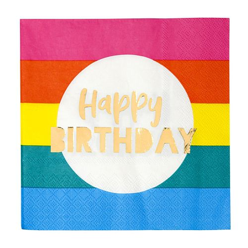 Rainbow Gold Foil Happy Birthday Napkins - Pack of 16