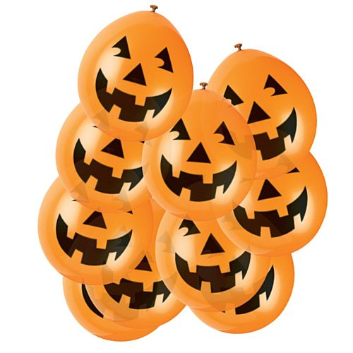 "Halloween Pumpkin Orange Latex Balloons - 9"" - Pack of 10"