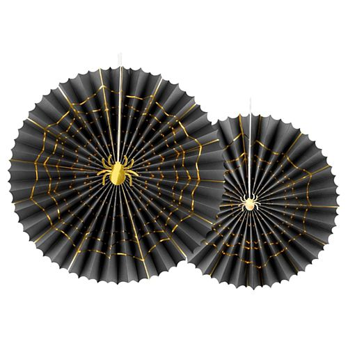 Halloween Spider Web Black and Gold Fan Decorations - Pack of 2