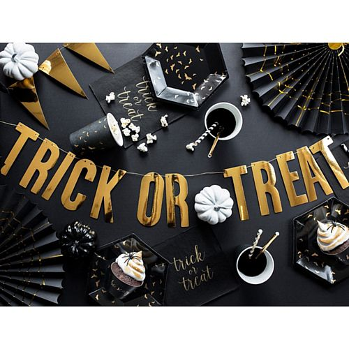 Gold Halloween Trick or Treat Letter Banner - 80cm