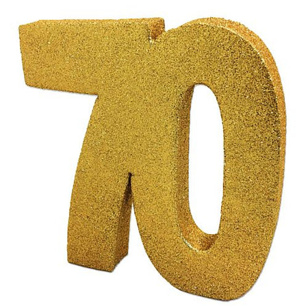 Gold Glitter Number 70 Table Decoration - 20cm