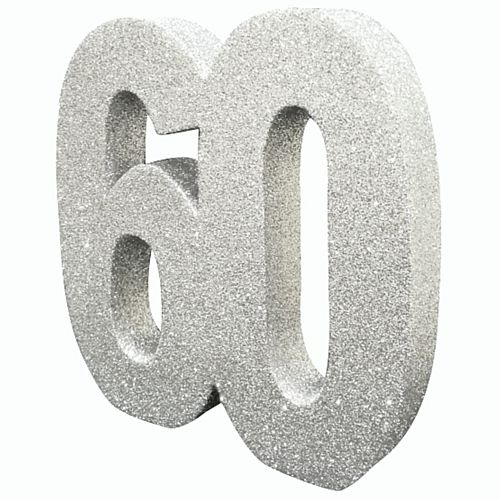 Silver Glitter Number 60 Table Decoration - 20cm