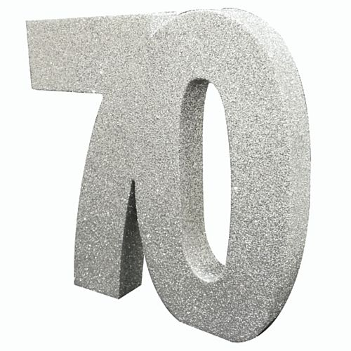 Silver Glitter Number 70 Table Decoration - 20cm
