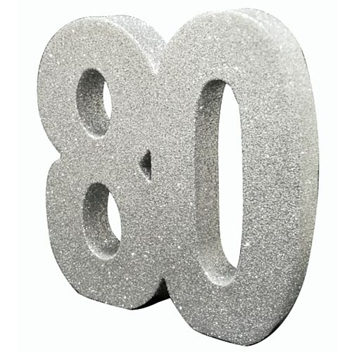 Silver Glitter Number 80 Table Decoration - 20cm