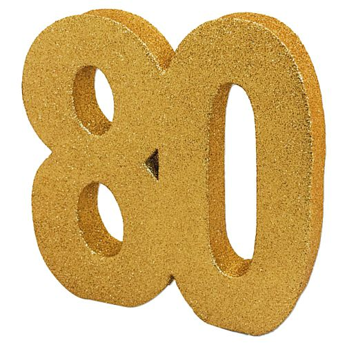 Gold Glitter Number 80 Table Decoration - 20cm