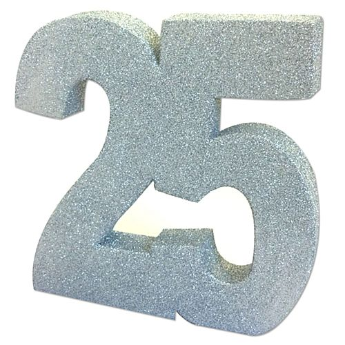 Silver Glitter Number 25 Table Decoration - 20cm