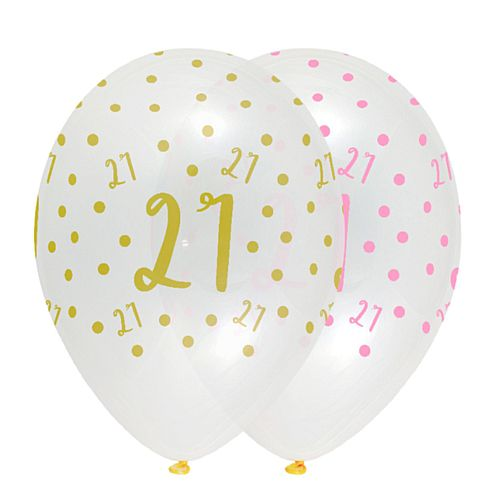 Pink Chic Age 21 Latex Balloons Crystal Clear - 30cm - Pack of 6