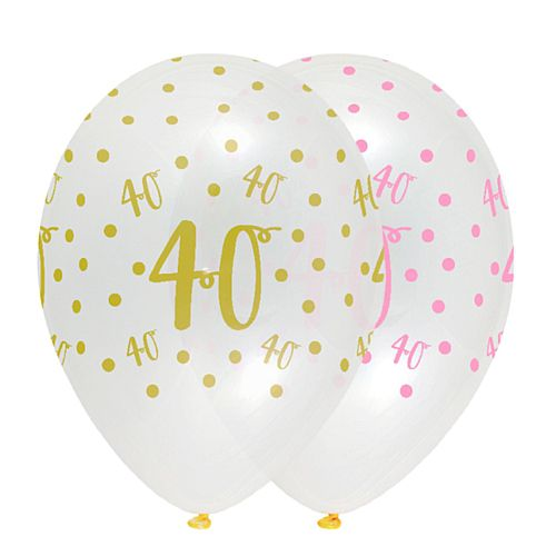 Pink Chic Age 40 Latex Balloons Crystal Clear - 30cm - Pack of 6