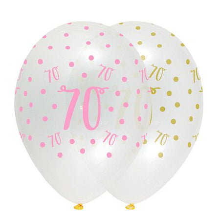 Pink Chic Age 70 Latex Balloons Crystal Clear - 30cm - Pack of 6