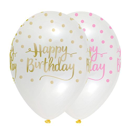 Pink Chic Happy Birthday Latex Balloons Crystal Clear - 30cm - Pack of 6
