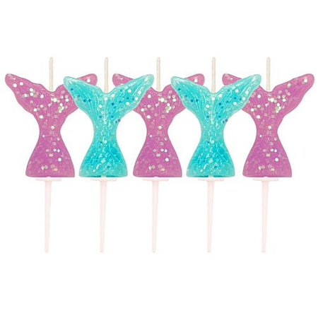 Glitter Mermaid Tail Pick Candles - 4cm - Pack of 5