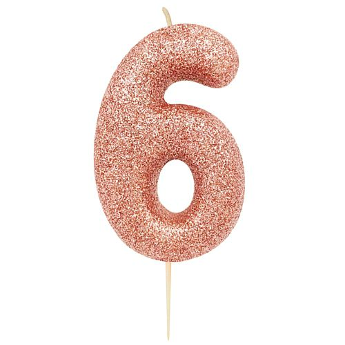 Rose Gold Number 6 Glitter Pick Candle - 7cm