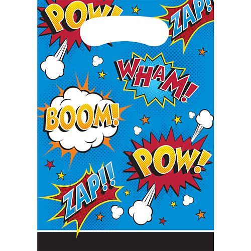 Superhero Slogans Loot Bags - Pack of 8