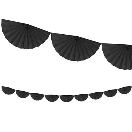 Black Tissue Fan Garland - 3m