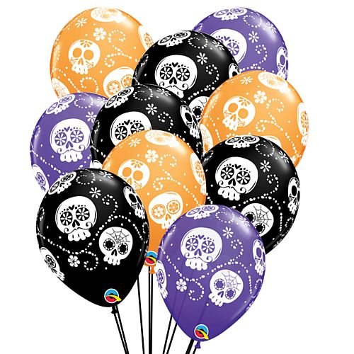"Sugar Skulls Day of the Dead Latex Balloons - 11"" - Pack of 25"