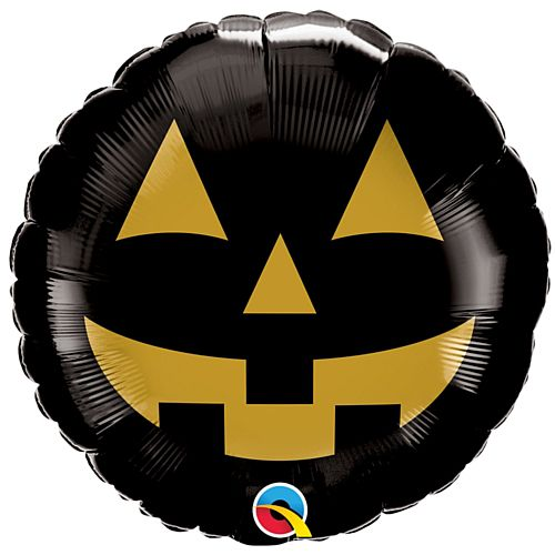 Black and Gold Pumpkin Face Foil Balloon - 18""