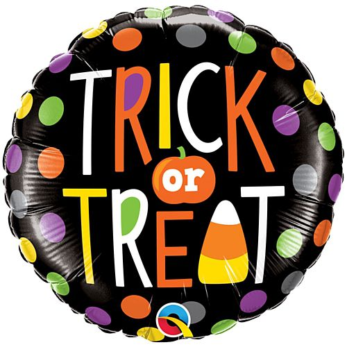 Trick or Treat Halloween Dots Foil Balloon - 18""