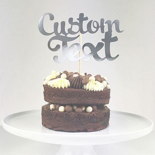 Personalised Silver Foil Cake Topper - Each