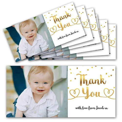 Gold Dots Personalised Photo Thank You Cards - Pack of 6