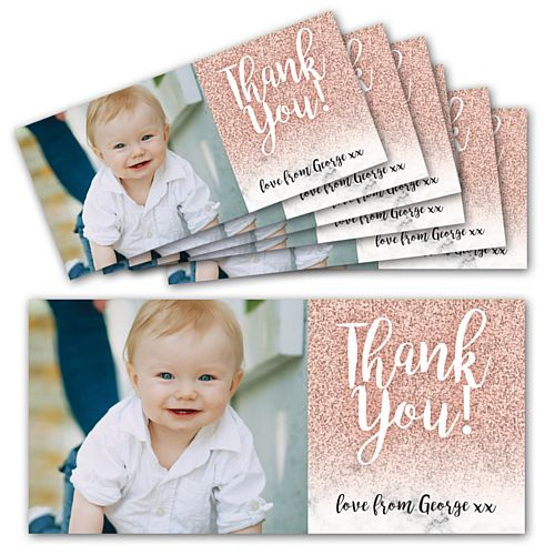 Rose Gold Glitter Personalised Photo Thank You Cards - Pack of 6