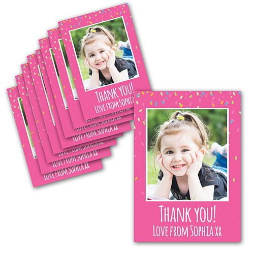 Pink Birthday Personalised Photo Thank You Cards - Pack of 8