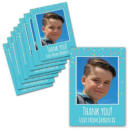 Blue Birthday Personalised Photo Thank You Cards - Pack of 8