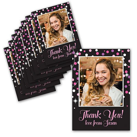 Pink Sparkle Personalised Photo Thank You Cards - Pack of 8