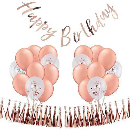 Rose Gold Birthday Decoration Pack