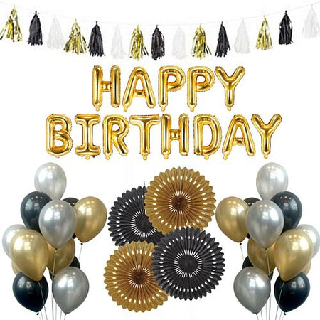 Black and Gold Birthday Decoration Pack