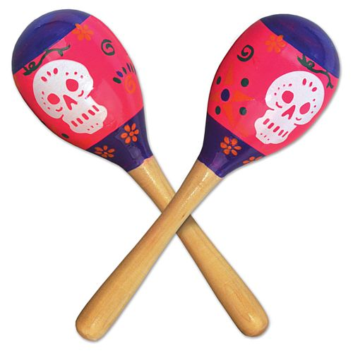 Day of the Dead Maracas - 20cm - Pack of 2