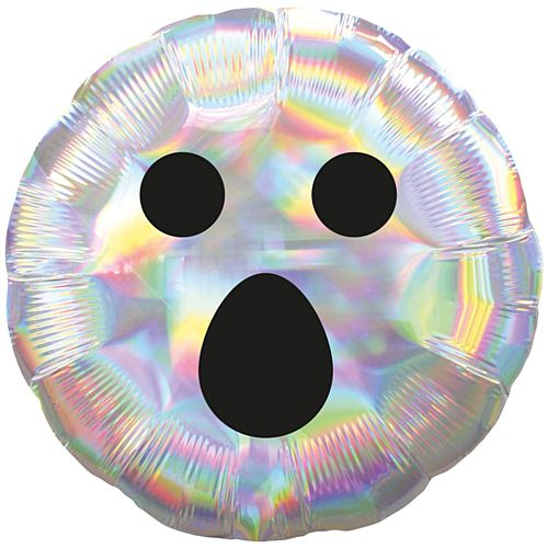 Halloween Ghost Face Iridescent Round Foil Balloon - 18""