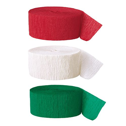 Red, White & Green Crepe Streamer Decoration Pack