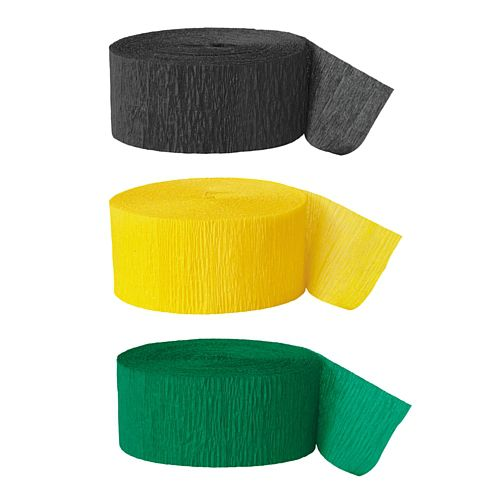 Black, Green & Yellow Crepe Streamer Decoration Pack