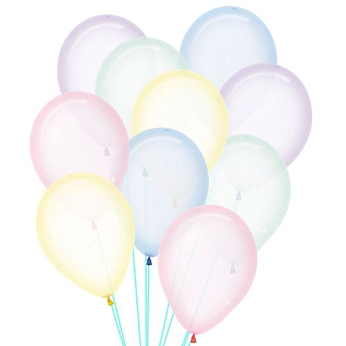 "Crystal Clear Pastel Assorted Colour Latex Balloons - 12"" - Pack of 50"