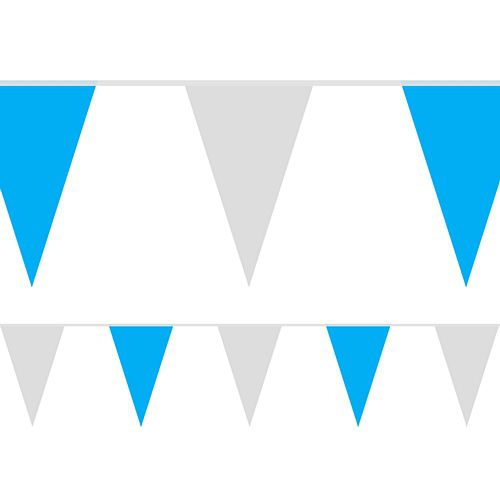 Light Blue and White Fabric Pennant Bunting - 24 Flags - 8m