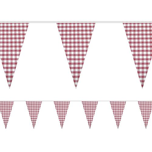 Red Gingham Fabric Bunting - 8m