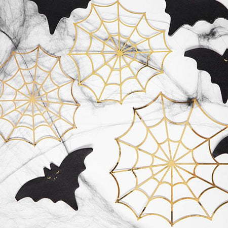 Gold Spider Web Decorations - Pack of 3