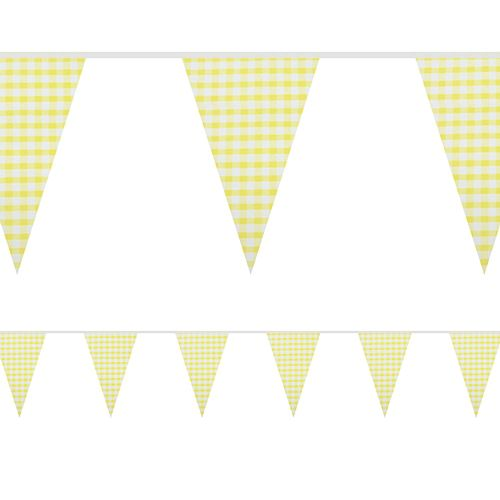 Yellow Gingham Fabric Bunting - 8m