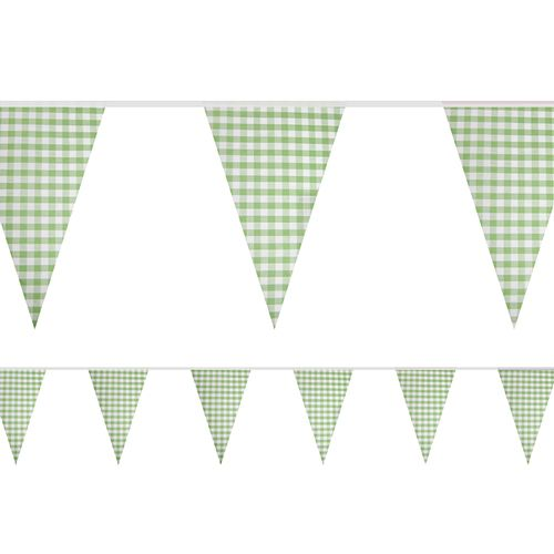 Green Gingham Fabric Bunting - 8m