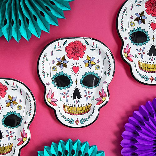 Day of The Dead Floral Skull Paper Plates - 23cm - Pack of 6