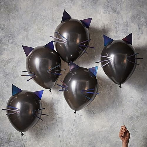 "Black Cat Balloon Kit - 12"" - Pack of 5"
