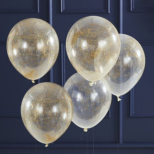 "Gold Angel Hair Latex Balloons - 12"" - Pack of 5"