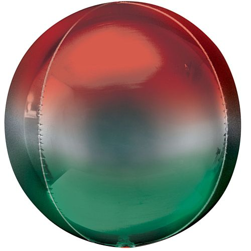 Ombre Red & Green Orbz Foil Balloon - 16""