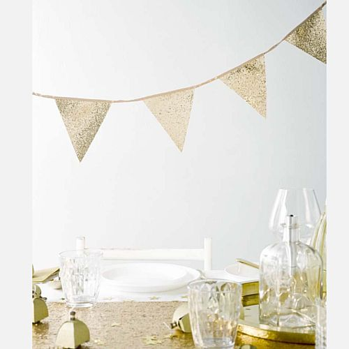Luxe Gold Glitter Fabric Bunting - 3m