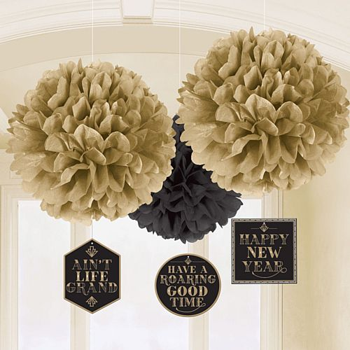 New Year's Eve Tissue Hanging Decorations with Danglers - Pack of 3