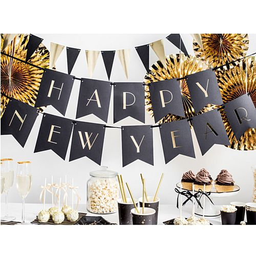 Black and Gold Happy New Year Banner - 1.7m