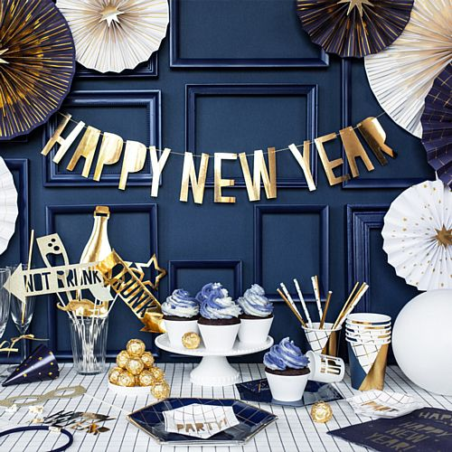 Metallic Gold Happy New Year Banner - 90cm