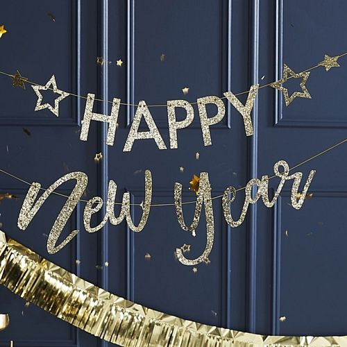 Gold Glitter Happy New Year Letter Banner - 1.5m